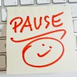 Note on computer keyboard: pause - Stock Photo