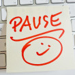 Note on computer keyboard: pause — Stock Photo