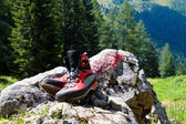 Hiking boots for hiking in the mountains — Stock Photo