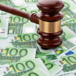 € money and gavel — Stock Photo
