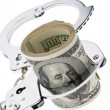 Dollar currency notes with handcuffs - ストック写真
