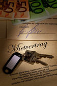 Home keys and rental agreement — Stock Photo