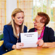 Grandson and grandmother. generation contract — Stock Photo