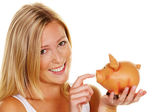 Young woman, to save money — Stock Photo