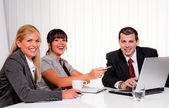 Successful team at a meeting in the office — Stock Photo