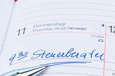 Entry in calendar: accountants — Foto Stock
