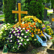 A fresh grave in a cemetery — Stock Photo