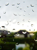 Raindrops on a windowpane — Stock Photo