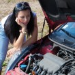 Woman in her car broke down. engine failure — Stock Photo #11860958