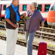 Older elderly couple at the railway station — Stock Photo #11861072