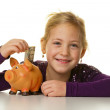 Child with a piggy bank. dollar, save — Stock Photo