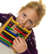 Stock Photo: School child is expecting abacus