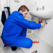 Stock Photo: Sink plumbing repairs