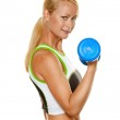 Woman with dumbbells during strength training — Stock Photo