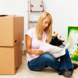 Woman with new housing plan — Stock Photo