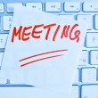 Note on computer keyboard: meeting — Foto de Stock