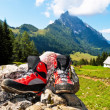 Stock Photo: Hiking boots for hiking in mountains