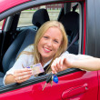 Young woman holding a driving license - Stock Photo