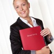 Woman with a job application — Stock Photo #11888391