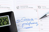 Entry in calendar: tax audit — Stock Photo