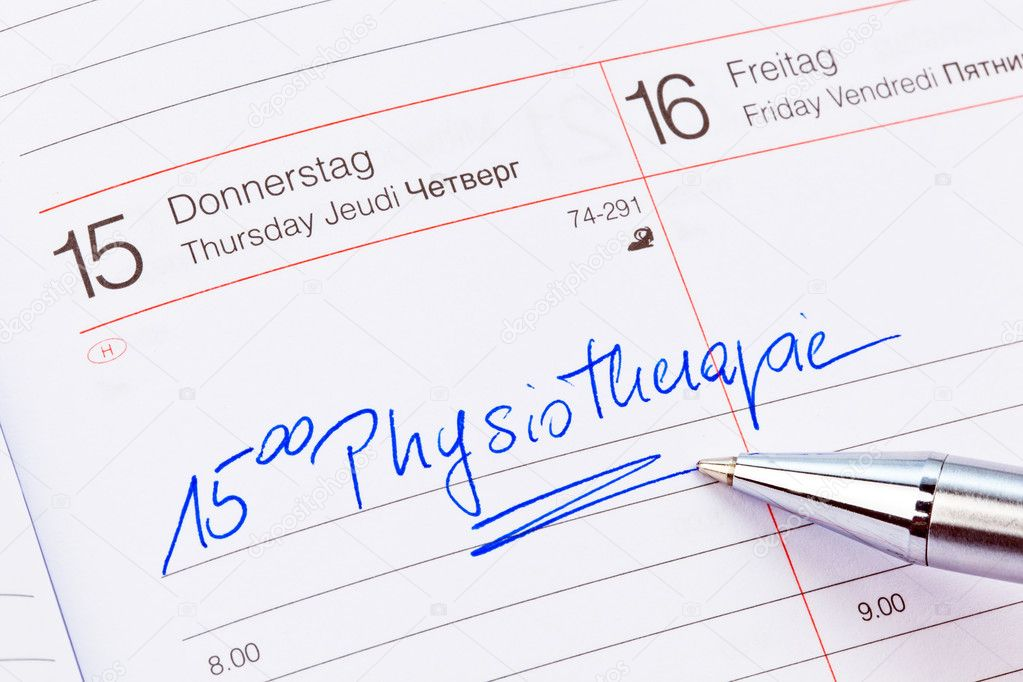 An appointment is entered on a calendar: physiotherapy — Stock Photo #11888216
