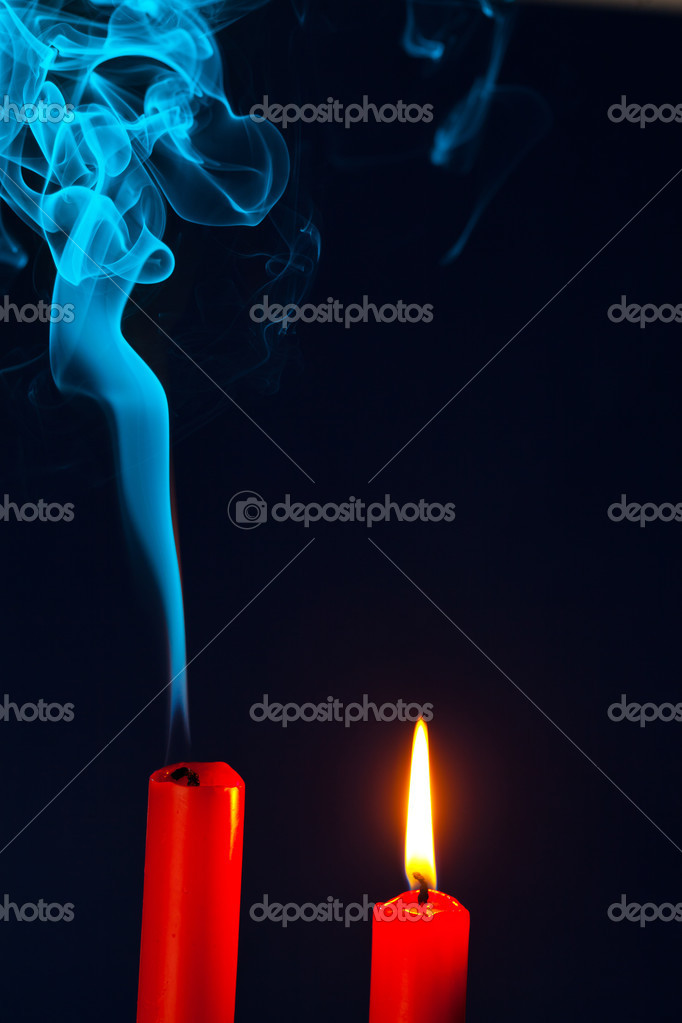 The flame of a candle was blown out. symbol of death, dying and past — Foto Stock #11888249