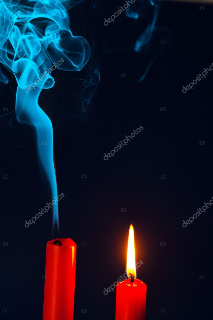 The flame of a candle was blown out. symbol of death, dying and past — Стоковая фотография #11888249