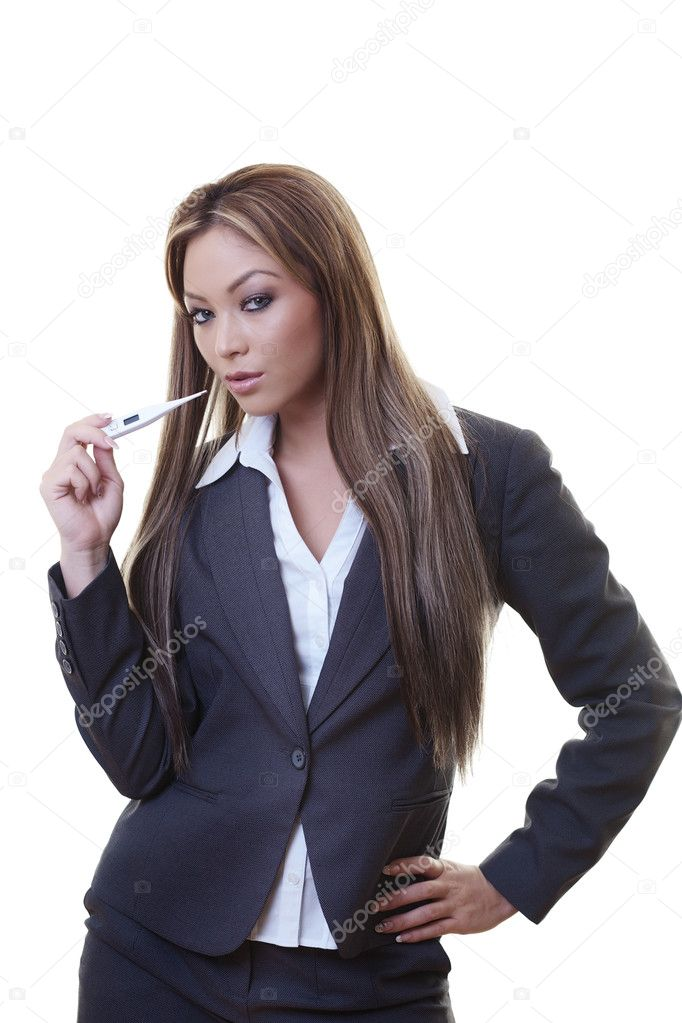 Woman taking her temperature do you think she be hot — Stock Photo #10987071
