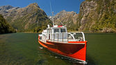 Boat from Sandfly Point - the last point Mildford Track — Stock Photo