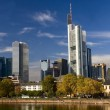 View from the river to the modern center of Frankfurt — Stock Photo