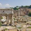 Stock Photo: Ruins of ancient Rome reveal ancient splendor of civilization - Foro Romano