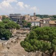 View from the Campidoglio on the Roman Forum and Colosseum - Stock Photo