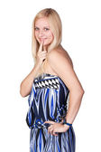 Gorgeous blond lady in a blue dress — Stock Photo