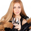 Young beautiful model with a glass - Stock Photo