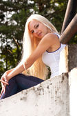 Sensual blond girl outdoor — Stock Photo