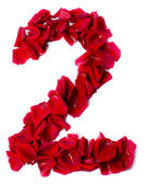 Number 2 made from red rose — Stock Photo