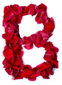 Alphabet B made from red rose — Stock Photo