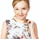 Portrait of a beautiful female model on white background — Stock Photo