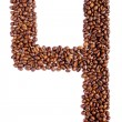 Number 4 from coffee beans. — Stock Photo