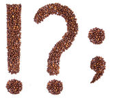 Punctuation marks from coffee beans. — Stock Photo