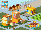 Set of building in city isometric two — Stock Vector