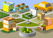 Set of building in city isometric — Stock Vector