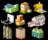Several building isometric three — Stock Vector