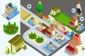 Isometric of house and set of map two — Stock Vector