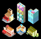 Building isometric set two — Stock Vector