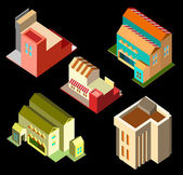 Building isometric set — Stock Vector