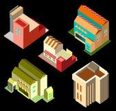 Building isometric set — Stock Vector