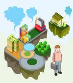 Isometric of building and land — Stock Vector