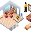 Royalty-Free Stock Vector Image: Isometric of living office interior