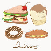 Food delicious. very detail vector illustration. see the others — Stock Vector